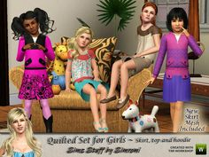 simromi's Quilted Outfit Set for Girls ~ new skirt mesh