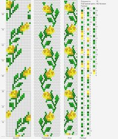 Bead crochet rope pattern - yellow roses, leaves - 16 around, 5 colors Crochet Bracelet Pattern, Crochet Beaded Bracelets, Bead Crochet Patterns, Bead Crochet Rope, Bead Loom Bracelets, Beaded Bracelet Patterns, Beading Patterns, Beaded Crochet, Seed Bead Tutorials