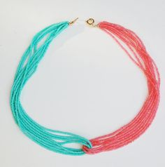 Turquoise and coral seed bead necklace...would be cute braided