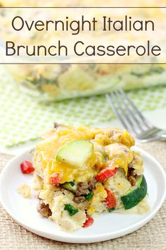 Make this Overnight Italian Brunch Casserole for Easter! It's also great for weekend brunch or an easy and simple breakfast for dinner!