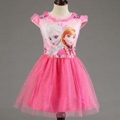 UNIKIDS Nuevo Elsa Anna Vestido de Las Muchachas de Partido de Cosplay Vestidos de Princesa Children ropa Bebés y Niños Vestidos de la muchacha del niño del cabrito vestido(China (Mainland))