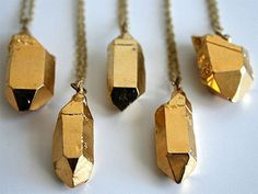 Gold Dipped Crystal Necklace by Laura Lombardi
