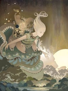 """I love the sense of scale in this illustration by Amy Sol, titled """"Numina"""". Art And Illustration, Illustrations, Fantasy Kunst, Fantasy Art, Vivre A New York, Amy Sol, Superflat, Art Graphique, Love Art"""