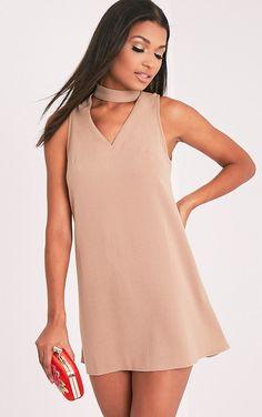 Cinder Camel Choker Detail Loose Fit Dress