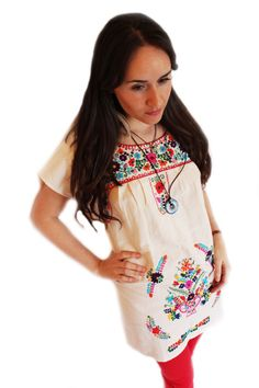 Mexican Hand Embroidered Dress Queretaro by MMM on Etsy, $54.90