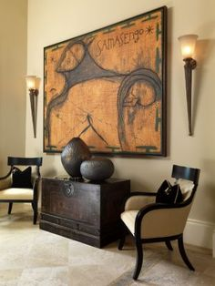 Get inspired by Traditional Living Room Design photo by B. Wayfair lets you find the designer products in the photo and get ideas from thousands of other Traditional Living Room Design photos. African Living Rooms, Ethnic Living Room, African Bedroom, Living Room Designs, Living Room Decor, Dining Room, African Interior Design, Ethno Design, African Home Decor
