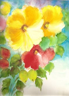 Original Watercolor Painting Floral Abstract 9x12 WCF-1084 RLEBSETS1. $25.00, via Etsy.