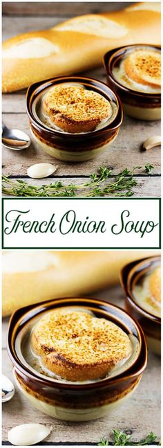 A savory and warm french onion soup flavored with garlic, red wine, sweet onions, and topped with a crisp baguette and melted white cheese. via @berlyskitchen