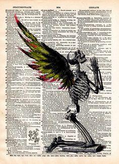Creepy skeleton, Fallen Angel art, winged skeleton fairy, death angel, creepy art, vintage dictionary page book art print