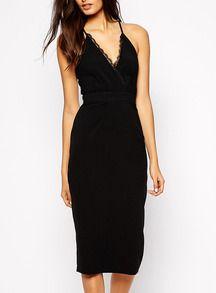 V Neck With Lace Back Split Black Dress