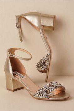 BHLDN Badgley Mischka Vega Heels Neutral in Shoes & Accessories Gold Bridal Shoes, Silver Wedding Shoes, Bridal Sandals, Wedding Boots, Wedding Shoes Heels, Prom Heels, Bride Shoes, Silver Shoes, Ivory Wedding
