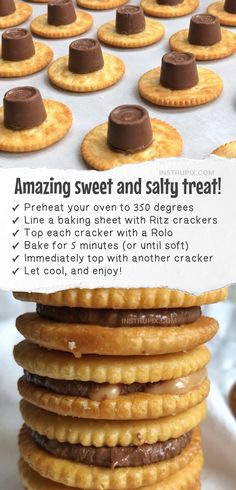 Rolo Ritz Cookies (2 ingredients!) | Easy and fun snack and treat ideas made with Ritz crackers! These Ritz cracker recipes are perfect for making treats, snacks, sandwiches and even pizza! Quick and easy snack ideas for kids. #ritz #snacks #treats #instrupix #kidssnacks #easyrecipes #2ingredients Yummy Snacks, Food Recipes Snacks, Healthy Sweet Snacks, Snacks Ideas, Cookie Recipes, Kid Snacks, Meal Ideas, Food Ideas, Healthy Treats