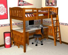 Full size loft bed with desk plans Choose from the January To be to have a comfortable desk area and still have plenty of bed head space Bunk Bed With Desk, Cool Bunk Beds, Kids Bunk Beds, Loft Beds, Loft Bed Plans, Desk Plans, Bed With Desk Underneath, Build A Loft Bed, Bedroom Pictures