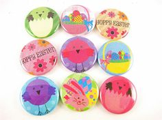 Easter love! #easter #diy #etsy #buttons #pinback_buttons #spring_chick #easter_egg #pastel #party_favors