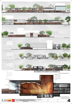 Picture 13 of 24 Gallery Contest First Place for Design of Colleges and Cultural facilities - Theater in Bogotá / Colombia. Print Image Courtesy of Carlos Andrés García and Eduardo Mejia Architecture Presentation Board, Presentation Layout, Architecture Board, Architecture Portfolio, Concept Architecture, Landscape Architecture, Landscape Design, Architecture Visualization, Cv Photoshop