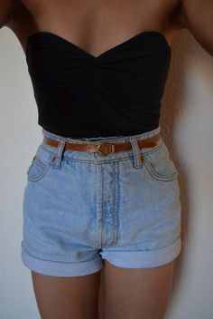 black top + belted denim shorts.