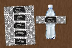 Instant DOWNLOAD Black and White Damask Water Bottle Labels Printable Personalizeable Bridal Shower Wedding Birthday Party Favors on Etsy, $5.99