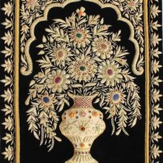 Maroon Velvet Base Indian Embroidered Zardosi Wall Decoratives Jewel Carpet with Precious Stones and Golden Wires Zardozi Embroidery, Folk Embroidery, Indian Embroidery, Embroidery Stitches, Hand Embroidery Patterns Flowers, Hand Embroidery Designs, Carpets Online, Tanjore Painting