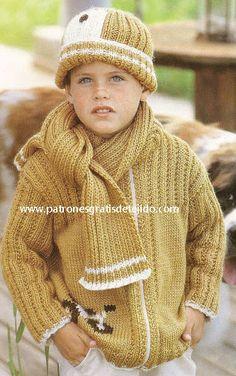Conjunto de gorro, campera y bufanda dos agujas para niño paso a paso