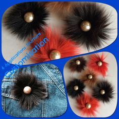 Un lot de 6 applications fourrure multicolores & perles : Déco, Customisation Textile par claudeplume