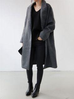 одежда, пальто, мода, серый, довольно