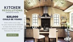 Enter DIY Network's Kitchen Resolutions Sweepstakes for your chance to win $25,000 to build the kitchen of your dreams!