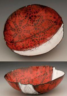 Katie Schutte fold form copper, sifted enamel