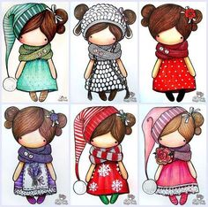 Doll clothes & doll clothes patterns &doll patterns by AlinaDollsDesigns Cute Images, Cute Pictures, Kawaii, Digital Stamps, Cute Illustration, Illustrations, Cute Drawings, Paper Dolls, Painted Rocks