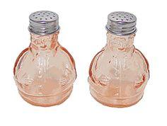 Fat Man Salt & Pepper Shaker Set. Reproduction depression glass. $4.00