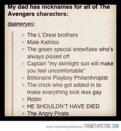 nicknames for The Avengers…