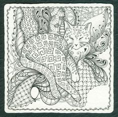 zentangle cat | ... Gallery: Zentangles » Zentangle Tiles » Where Sleeping Cats Lie - Picmia