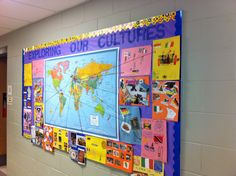 Cultures Bulletin Board, went with our social studies unit...the students interviewed a relative about their heritage, added pictures, and I marked all the countries they were from on the map