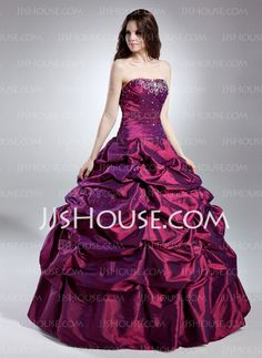 Ball-Gown Strapless Floor-Length Taffeta Quinceanera Dress With Ruffle Beading - Quinceanera Dresses - JJsHouse Quinceanera Dresses 2016, Neon Prom Dresses, Robes Quinceanera, 15 Dresses, Wedding Party Dresses, Cheap Dresses, Pnina Tornai Dresses, Masquerade Dresses, Long Formal Gowns