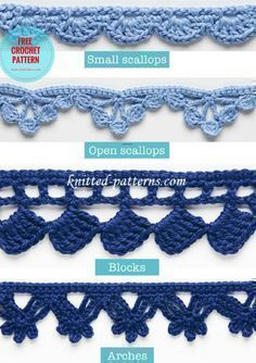 Deco Edgings and Trims [Free Crochet Pattern] | Small and open scallops, blocks and arches. Four easy and quick to do crochet edging combinations which every crocheter would do, even beginner. Save to your list, send to a friend. #crochetedgins #crochetpattern
