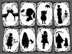 8 silhouette postcards weird strange creepy art digital  totallost on Etsy