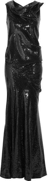 "OOOOOooooo ""The Silhoutte sequin Glamour gown with  Cowl-neck   Donna Karan    dress mesweetiedarling"