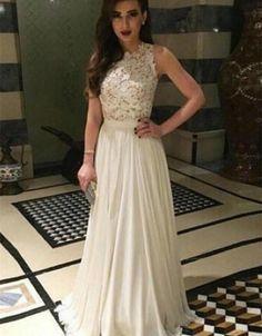 Ivory Prom Dresses,Long Prom Dress,Lace Prom Dresses,Chiffon Prom Gowns, Sleeveless Prom Dresses,Simple Prom Dresses,Cheap Prom Gowns,Floor Length Prom Dresses