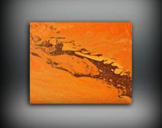Check out ORIGINAL Painting, Art Painting Acrylic Painting Abstract Painting Orange Wall Hanging Small Wall Art Modern Wall Decor 8x10 Orange Painting on ldawningscott