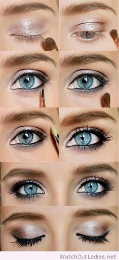 Amazing makeup tutorial for blue eyes bridesmaid eyes