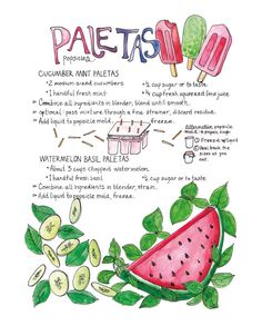 Cucumber Mint and Watermelon Paletas Popsicles Cucumber Recipes, Watermelon Recipes, Watermelon Crafts, Banana Cheesecake, Comida Latina, Popsicle Recipes, Food Journal, Food Drawing, Yummy Eats
