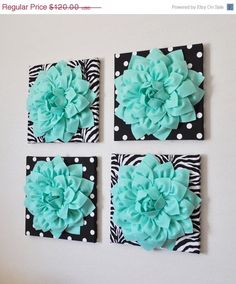 "MOTHERS DAY SALE Wall Decor -Set Of Four Mint Dahlias on Black and White Prints 12 x12"" Canvases Wall Art-"