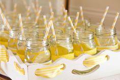 Project Nursery - Mason Jar Drinks with Yellow Paper Straws - Project Nursery