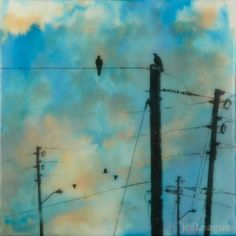 Encaustic painting with photography of crows on power lines in vibrant turquoise sky