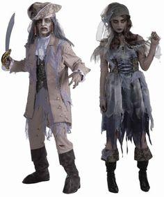 Halloween, Halloween Costumes Couples, Halloween Costumes diy, Halloween Costumes Adult-Zombie Pirate Dress & Zombie-