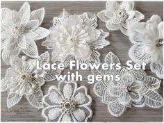 7 Lace Random Fabric White Flowers with gems for cards, shabby chic projects and mixed media, scrapbooking embellishment Lace Flowers, Fabric Flowers, White Flowers, Small Art, Flower Making, Lace Fabric, Creative Inspiration, Burlap Wreath, Embellishments