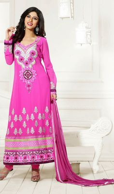 Look simply stunning in this pink georgette embroidered long churidar suit. This stunning attire is displaying some astounding embroidery done with lace, patch, resham and stones work. Georgette Dresses, Churidar Suits, Stone Work, Straight Cut, Dress Collection, Stones, Fancy, Embroidery, Silk