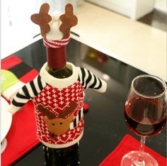 Christmas Decorations Products Elk Red Wine Cover Champagne Bottles Cover Knitting Wool Restaurant Holiday Products Free Epacked Shipping Christmas Decorations Sales Christmas Decorations Shop Online From Wendy333, $17.19| Dhgate.Com