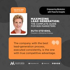 Learn how to drive huge ROI by optimizing high-quality leads. Gain deeper insights into your customers & integrate marketing tools that transform the way you prospect leveraging the hands-on guide to lead generation by author Ruth Stevens, President at eMarketing Strategy Group  #improvement #book #futureofwork #strategy #leadgeneration #building #bestpractices #employeeengagement