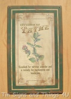 Thyme TIN SIGN rustic vtg metal wall decor kitchen culinary herbs garden art OHW
