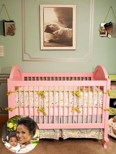 I love a large black and white photo over a bed or in this case a crib...so sweet